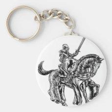 Medieval Knight Horse Vintage Woodblock Engraving Keychain