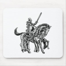 Medieval Knight Horse Vintage Woodblock Engraving Mouse Pad