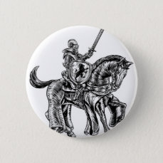 Medieval Knight Horse Vintage Woodblock Engraving Pinback Button
