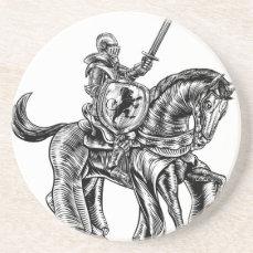 Medieval Knight Horse Vintage Woodblock Engraving Sandstone Coaster