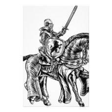 Medieval Knight Horse Vintage Woodblock Engraving Stationery