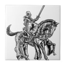 Medieval Knight Horse Vintage Woodblock Engraving Tile