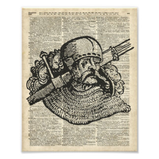 Medieval Knight Illustration On Dictionary Page Photo Print