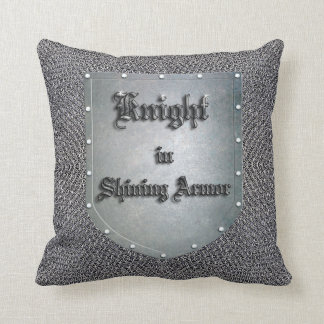 Medieval Knight in Shining Armor Shield Chainmail Throw Pillow