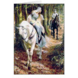 Medieval knight lady antique painting greeting card