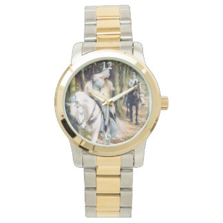 Medieval Knight Lady White Horse Forest painting Wristwatches