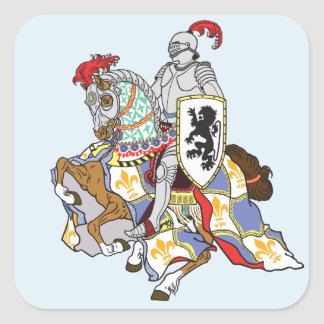 medieval knight on a horse square sticker