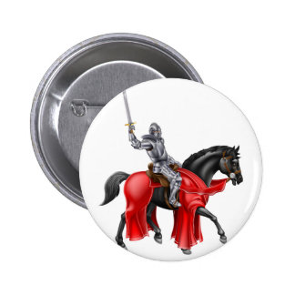 Medieval Knight on Black Horse Pinback Button