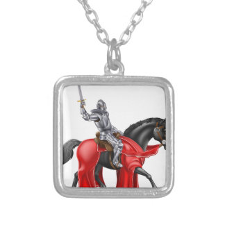 Medieval Knight on Black Horse Square Pendant Necklace