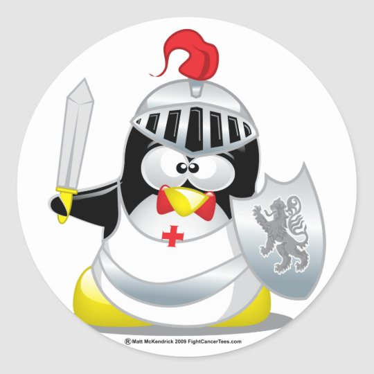 Medieval Knight Penguin Classic Round Sticker