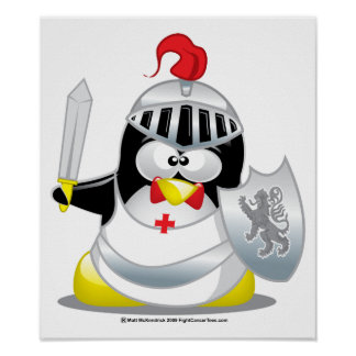 Medieval Knight Penguin Poster