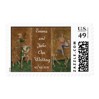 Medieval Knight Renaissance Fantasy Wedding Postage Stamps