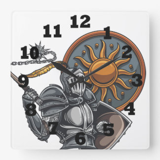 Medieval Knight With Round Shield and Mace Square Wall Clock