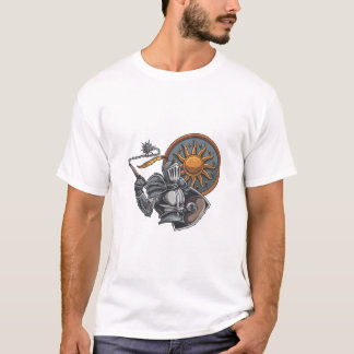 Medieval Knight With Round Shield and Mace T-Shirt