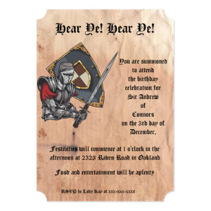 Medieval Knight With Sword And Shield Birthday Invitation