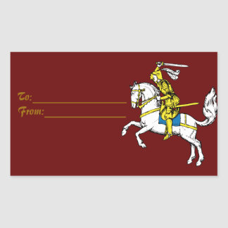 Medieval Knights Horses Lions Castle Party Destiny Rectangular Sticker