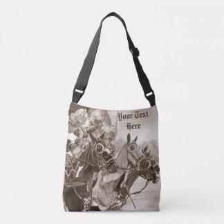 medieval knights jousting horses art sepia design tote bag