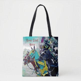 medieval knights jousting on horses art design tote bag