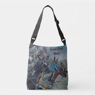 medieval knights jousting on horses historic art crossbody bag