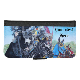 medieval knights jousting on horses historic art iPhone 8/7 wallet case
