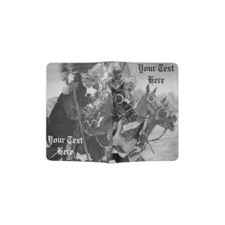medieval knights jousting on horses historic art passport holder