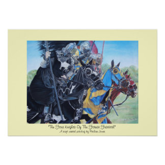 medieval knights jousting on horses historic art poster
