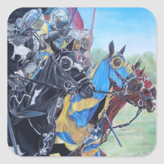 medieval knights jousting on horses historic art square sticker