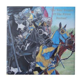 medieval Knights jousting on horses historic art Tile