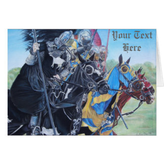medieval knights jousting on horses original art card