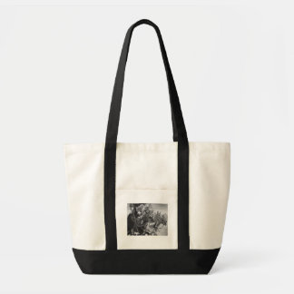 medieval Knights riding horses monochrome design Tote Bag