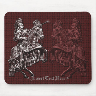 Medieval Knights Silver and Red Mouse Pad