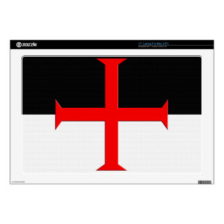 "Medieval Knights Templar Cross Flag 17"" Laptop Decal"