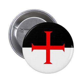 Medieval Knights Templar Cross Flag Button