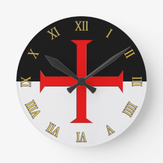 Medieval Knights Templar Cross Flag Round Clock
