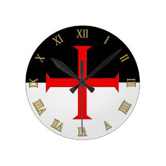Medieval Knights Templar Cross Flag Round Clock