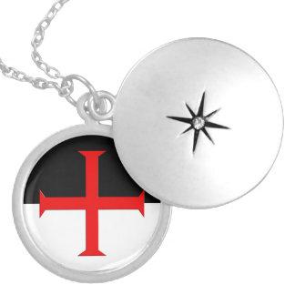 Medieval Knights Templar Cross Flag Round Locket Necklace