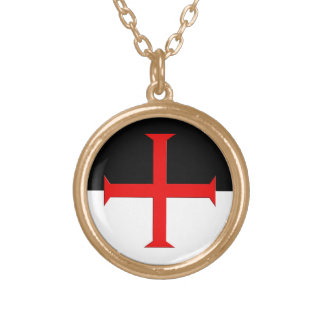 Medieval Knights Templar Cross Flag Round Pendant Necklace