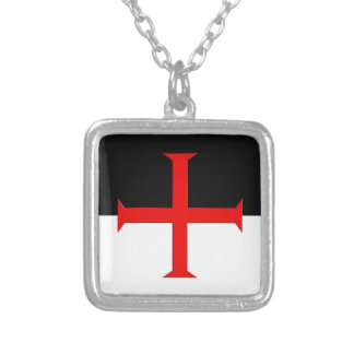 Medieval Knights Templar Cross Flag Square Pendant Necklace