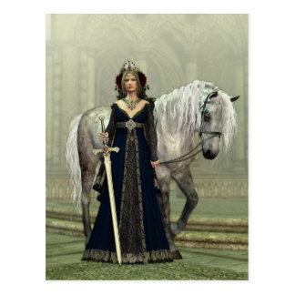 Medieval Lady and Horse Postcard