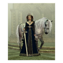 Medieval Lady and Horse Poster