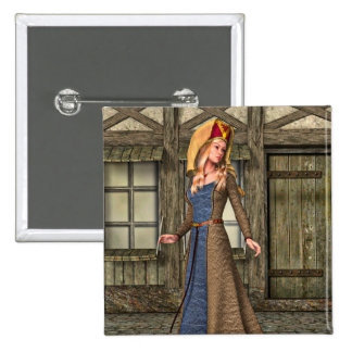 Medieval Lady Button
