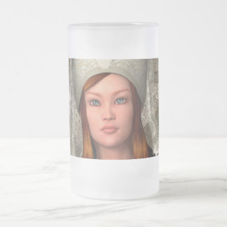 Medieval Lady Frosted Glass Beer Mug