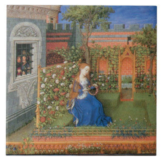Medieval lady in the rosegarden large square tile