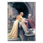 Medieval lady knight castle painting gift greeting card