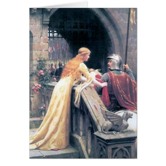 Medieval lady knight castle painting gift card