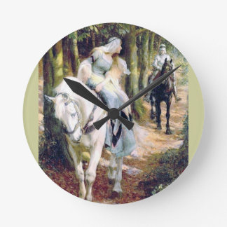 Medieval lady knight meeting in the forest round clock