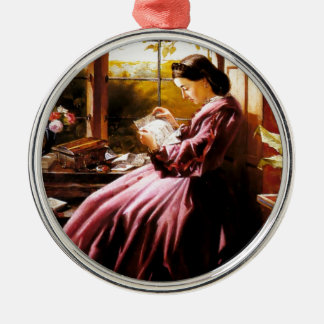 Medieval Lady Reading Letter painting Metal Ornament