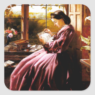 Medieval Lady Reading Letter painting Square Sticker
