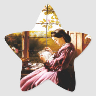 Medieval Lady Reading Letter painting Star Sticker