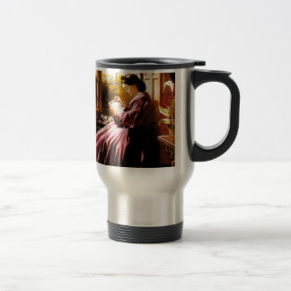 Medieval Lady Reading Letter painting Travel Mug